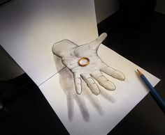 Alessandro Diddi is an artist from Italy who designs creative Drawings that creates illusions. The drawings on paper are so creative and looks very 3d Pencil Art, 3d Pencil Drawings, Illusion Drawings, Illusion Art, Amazing Drawings, Cool Drawings, 3d Foto, 3d Sketch, Sketches