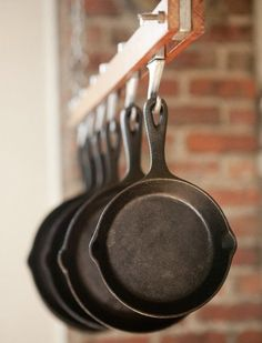 Put coffee filters between your cast iron:  11 Kinda Amazing Things You Can Do With Coffee Filters via @PureWow