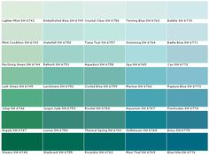 Sherwin Williams SW6742Lighter Mint  SW6743Mint Condition  SW6744Reclining Green  SW6745Lark Green  SW6746Julep  SW6747Argyle  SW6748Greens  SW6749Embellished Blue  SW6750Waterfall  SW6751Refresh  SW6752Larchmere  SW6753Jargon Jade  SW6754Ionian  SW6755Starboard  SW6756Crystal Clear  SW6757Tame Teal  SW6758Aqueduct  SW6759Cooled Blue