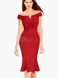 Sweet Bow Bateau Cotton Blend Mermaid Bodycon Dress - Milanoo.com