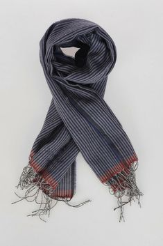 NWT TOMMY HILFIGER NAVY ORANGE STRIPED MUFFLER WINTER SCARF