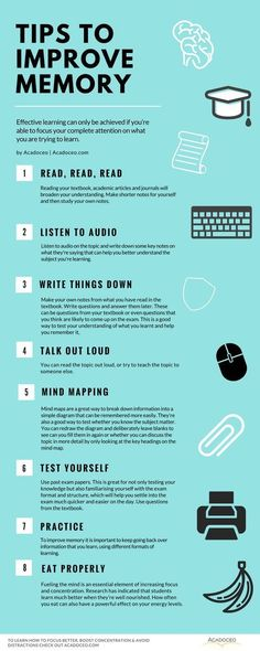 Tips to improve memory. How To Focus Better, Boost Concentration & Avoid Distractions Study Skills, Life Skills, Learning Skills, How To Focus Better, How To Become Smarter, Study Techniques, Learning Techniques, School Study Tips, School Tips
