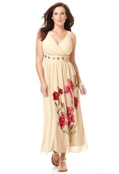 Chiffon Placed Floral Maxi Dress, Plus Size