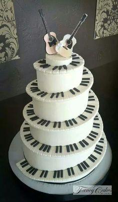 Piano Keys and Guitar Cake
