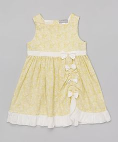 Another great find on #zulily! Yellow Ruched Bow Dress - Infant #zulilyfinds