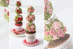 Here's a project that I think you'll dig (pun intended) – 3-D cookie topiaries in cookie garden pots with cookie dirt! I've iced them in a red and pink schem...