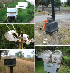 funny mail boxes recycled items