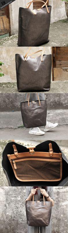 Handmade vintage Dark gray sliver leather normal tote bag shoulder bag handbag for women