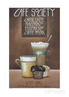 Café Society Prints by Mandy Pritty at AllPosters.com Coffee Wall Art, Cool Posters, Kitchen Art, Frames On Wall, Vintage Posters, Custom Framing, Giclee Print, Smoothies, Poster Prints