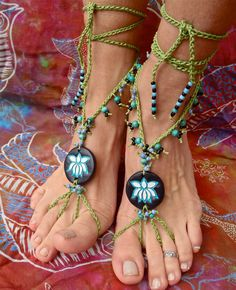 belly dance LOTUS flower BAREFOOT sandals bohemian by GPyoga, $62,00