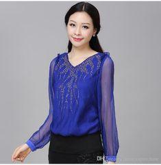 34b15ac5060854 Blue Tops For Women blue tops 2018 fashion women ladies female elegant  casual chiffon shirts tops blouse royal blue v MIAISGV – AcetShirt