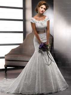Trumpet/Mermaid Scoop Lace Satin Chapel Train White Sashes / Ribbons Wedding Dresses at Millybridal.com