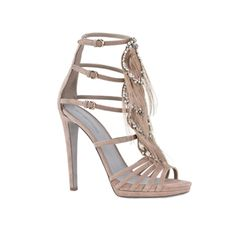 SERGIO ROSSI NUDE PLATFORM SHOES WITH CRYSTALS & FEATHERS