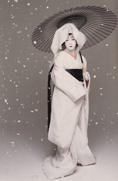 Sea of Shoes: Bando Tamasburo, male kabuki legend, by Kishin Shinoyama