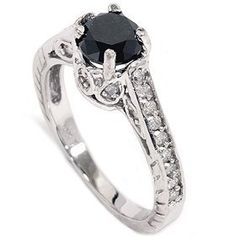 1.23CT Black Diamond Vintage Style Engagement Ring Hand Engraved Unique (4-9)   by Pompeii3 Inc.   $499.00