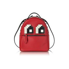 Les Petits Joueurs Handbags Baby Mick Eyes Red Leather Backpack (21 345 UAH) ❤ liked on Polyvore featuring bags, backpacks, handbags, red, red crossbody, leather cross body bag, crossbody backpack, red backpack and leather backpack