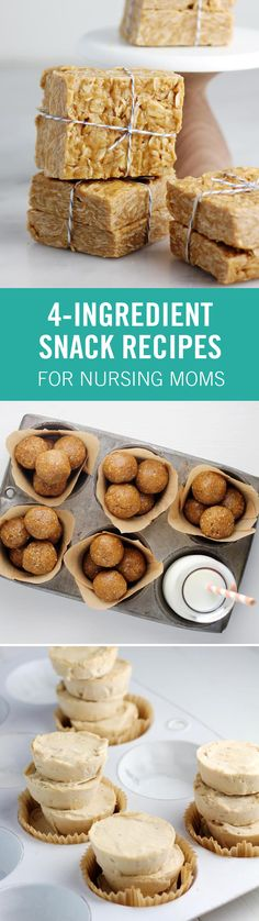 "These 4 ingredient snacks will change your life if you're trying to keep yourself nourished while nursing a new baby. From Banana ""Ice Cream"" Bites to Cucumber Roll-Ups, these snack hacks will keep you full and happy even with your hands full. Lactation Recipes, Lactation Cookies, Baby Food Recipes, Snack Recipes, Breastfeeding Snacks, Banana Flour, Snack Hacks, Ice Cream Bites, Good Food"