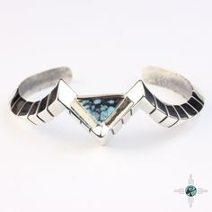 Geometric Triangular Turquoise Navajo Sterling Silver Bracelet by Ronnie Henry - Turquoise Skies