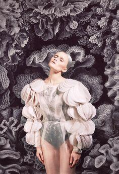Beautiful fashion merged with pattern design - 'Merging' by Masha Reva.