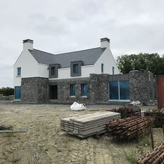 Morning site visit Scaffolding down and ready for zinc canopy Stone Exterior Houses, Stone Houses, Farmhouse Architecture, Architecture 101, Country Farmhouse Exterior, House Designs Ireland, Dormer House, Build My Own House, House Outside Design