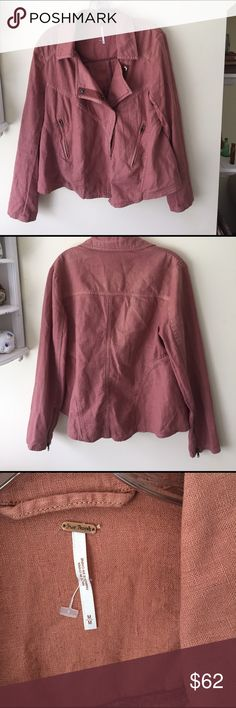 Free People Linen Moto Jacket Free People Linen/Cotton blend jacket in excellent condition.  Lovely salmon color that is perfect for spring! Free People Jackets & Coats Utility Jackets