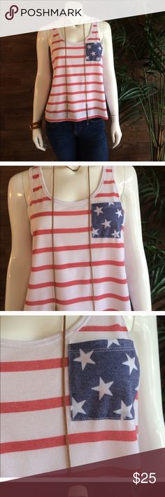 American Flag Cropped Tank 🇺🇸 In great condition. Size large but fits like small: Fifth Sun Tops Tank Tops