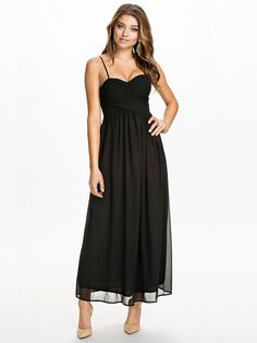 Wrap Over Gathered Chiffon Dress - Te Amo - Black - Party Dresses - Clothing - Women - Nelly.com Uk