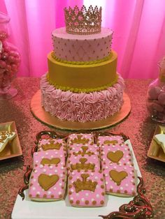 Gorgeous cake at a princess baby shower party! See more party planning ideas at CatchMyParty.com!