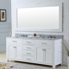 "Madison 72"" Solid White Double Sink Bathroom Vanity Only"