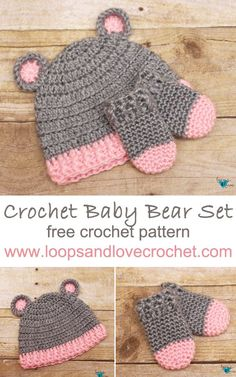 Crochet Baby Hats Crochet baby bear hat and mittens - free crochet pattern! This set is very beginner friendly and works up quickly. The perfect gift for a new baby or for a shower gift for the mom-to-be! Crochet Baby Mittens, Crochet Bebe, Love Crochet, Crochet Gifts, Baby Hat And Mittens, Crochet Bear Hat, Crochet Granny, Crochet Baby Stuff, Kids Crochet