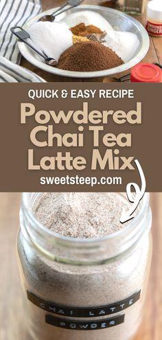 Chai Latte Mix Recipe, Chia Tea Latte Recipe, Chai Recipe, Homemade Chai Tea, Homemade Spices, Instant Chai Tea Recipe, Coffee Recipes, Hot Tea Recipes, Gourmet