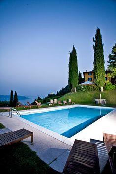 The pool at sunset on Lake Garda in Gargnano