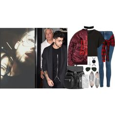 [THE NIGHT I MET AND HUGGED ZAYN] New York, Look 9 (Night Time) - 15 September 2016 by thisistheend on Polyvore featuring Topshop, Miu Miu, H&M, Calvin Klein, Gioelli, Uncommon and Ray-Ban