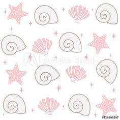 cute lovely seamless vector pattern background illustration with seashells, stars and starfish by Alice Vacca Seashells, Starfish, Pattern Background, Cute Pattern, Vector Pattern, Graphic Design Illustration, Alice, Image, Conch Shells