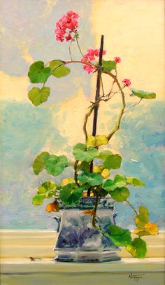 """Evening Sky Geraniums"" by David Hettinger (oil on panel, Fruit Painting, Garden Painting, Painting & Drawing, Still Life Flowers, Acrylic Painting Techniques, Vintage Artwork, Painting Inspiration, Illustration Art, Illustrations"