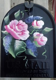 PERSONALIZED Painted MAILBOX  UV Resistant Lily of the Valley, roses, wisteria.