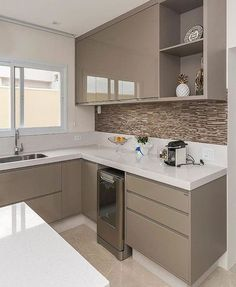 Ideas Kitchen Tiles Beige Cabinets For 2019 Kitchen Cupboard Designs, Kitchen Room Design, Home Decor Kitchen, Interior Design Kitchen, Kitchen Furniture, Small Modern Kitchens, Beautiful Kitchens, Kitchen Modular, Contemporary Kitchen Design