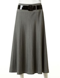 Charcoal Full Boot Skirt with Belt