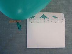 Baloon envelope by Willie wagtail design Invites, Wedding Invitations, Craft Wedding, Wedding Stationary, Envelope, Illustration, Crafts, Design, Home Decor