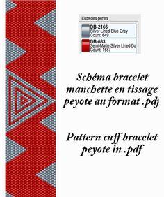 Schéma pour bracelet manchette rouge et gris en tissage peyote au format .pdf