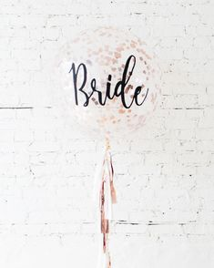 Bride Confetti Giant Balloon and White & Rose Gold Tassel — Paris312 Giant Balloons, White Roses, Confetti, Elegant Bridal Shower, Rose Gold, Party Signs, Bride, Biodegradable Products, Tassels