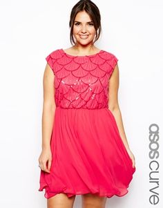ASOS CURVE Exclusive Skater Dress With Deco Sequin Top - I need this dress for art deco weekend next year.