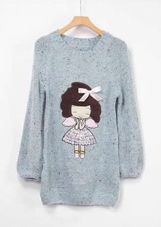 Long Sleeve Round Neck Cartoon Women Blue Knitting Sweater One Size @YIF11644bl