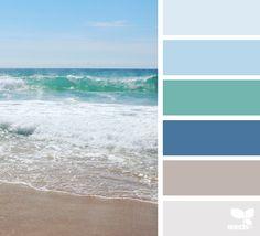 color escape color palette from Design Seeds Design Seeds, Bedroom Paint Colors, Bathroom Colors, Beach Color Palettes, Summer Colour Palette, Ocean Color Palette, Summer Colours, Nautical Colors, Beachy Colors