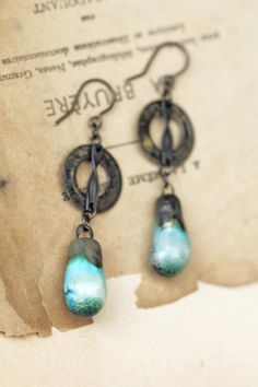 Reserved Celadon porcelain drops earrings turquoise от LucieTales