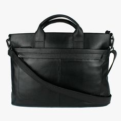 The clean lines of this stylish laptop bag in classic black will make you look sharp in every situation. Guy Fashion, Mens Fashion, Laptop Bags, Spring Summer 2016, Men's Collection, Clean Lines, Briefcase, Travel Bags, Black Leather