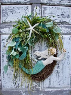 Large Oval Mermaid Wreath, Beach Wreath, Coastal Decor, Beac… – Home Decor Coastal Wreath, Nautical Wreath, Seashell Wreath, Coastal Decor, Beach Wreaths, Yarn Wreaths, Floral Wreaths, Burlap Wreaths, Coastal Fall