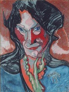 Stanisław Ignacy Witkiewicz Witkacy Franz Marc, Edvard Munch, Wassily Kandinsky, Karl Schmidt Rottluff, George Grosz, Portraits, Colored Pencils, Surrealism, Art Drawings