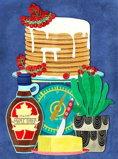 pancakes and vintage scales illustration