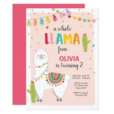 Whole llama fun birthday invitation Alpace Cactus ♥ A perfect way to invite your guests to your Party! Fun birthday party invites - customize your invitations or products. Llama Birthday, Birthday Fun, Birthday Parties, Birthday Ideas, Twin Birthday, Fourth Birthday, Theme Parties, Birthday Party Invitations, Party Favors